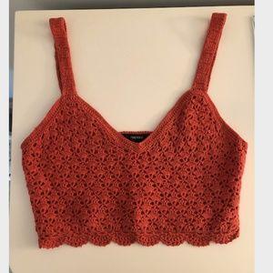 forever 21 orange crochet tank top